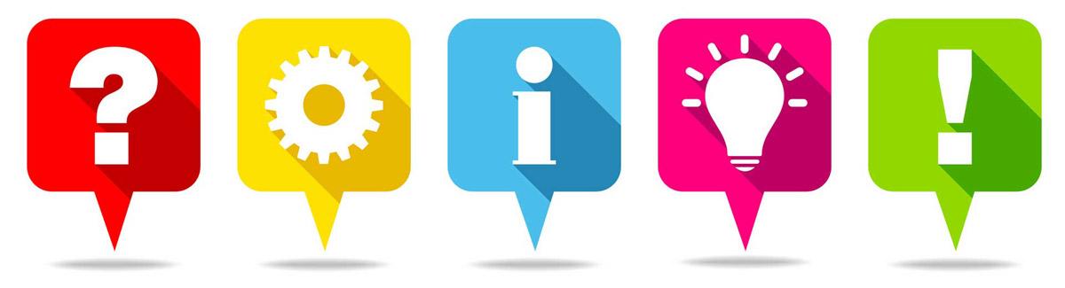 Icons: Fragezeichen, Zahnrad, Info-i, Glühbirne, Ausrufungszeichen