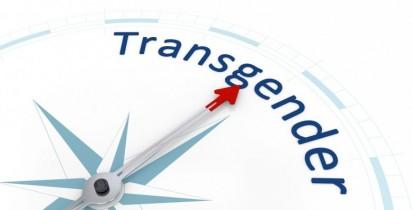 Blauer Kompass mit der Nadel gerichtet auf das Wort Transgender
